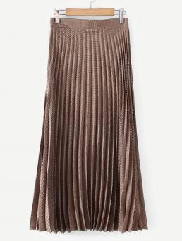 Mocha Brown Natural Waist Pleated Pleated Skirt Trending now