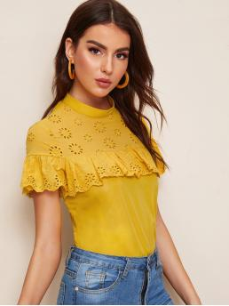 Casual Plain Top Regular Fit Stand Collar Short Sleeve Flounce Sleeve Pullovers Yellow Regular Length Mock-neck Embroidered Eyelet Yoke Ruffle Top