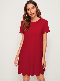 Casual Tunic Plain Straight Loose Round Neck Short Sleeve Natural Red Short Length Solid Scalloped Hem Tunic Dress