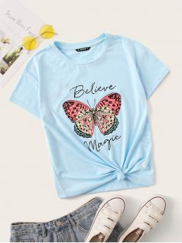Casual Animal and Slogan Regular Fit Round Neck Short Sleeve Pullovers Blue and Pastel Regular Length Butterfly & Slogan Print Tee