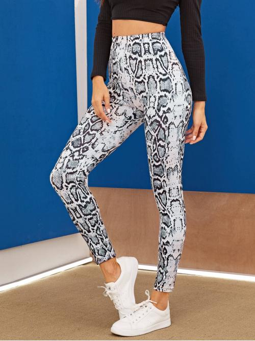 Casual Regular Snakeskin Print Multicolor Cropped Length Snakeskin Print Leggings