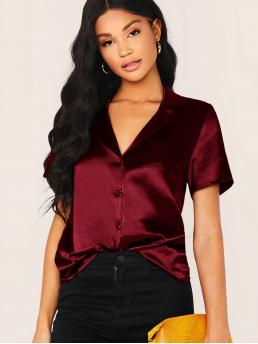 Casual Plain Shirt Regular Fit Lapel Short Sleeve Regular Sleeve Placket Burgundy Regular Length Notched Collar Satin Blouse