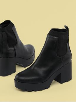 Glamorous Other Almond Toe Plain No zipper Black High Heel Chunky Stretch Shaft Chunky Heel Platform Booties