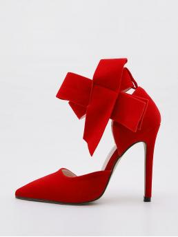 Ladies Red Court Pumps Bow Ultra High Heel Decor Ankle Strap Heels