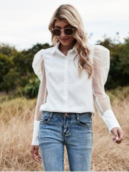 Fashion Long Sleeve Shirt Button Front Polyester Mesh Blouse