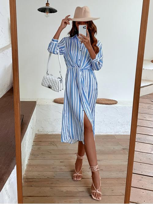 White Striped Button Front Collar Button up Shirt Dress Ladies