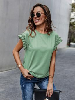 Cap Sleeve Frill Polyester Plain Cuff Solid Tee Discount