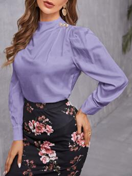 Long Sleeve Top Button Polyester Solid Mock Neck Blouse Fashion