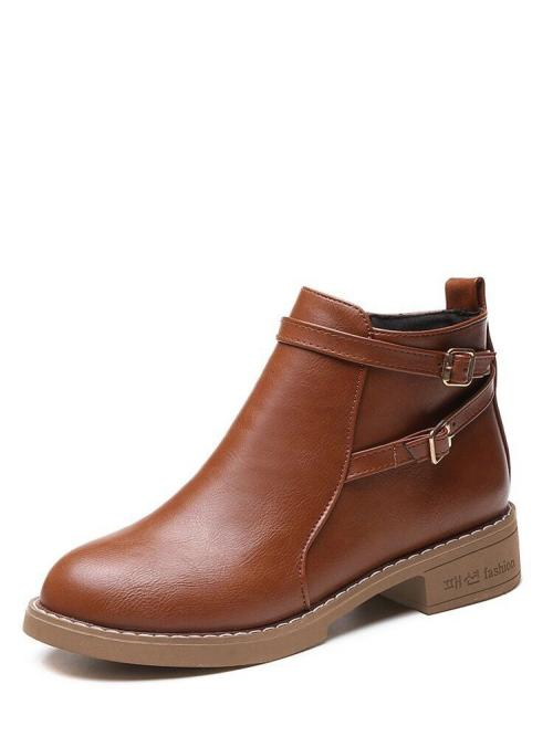 Other Round Toe Plain Side zipper Brown Low Heel Chunky Double Buckle Heeled Boots