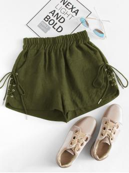 Casual Plain Straight Leg Regular Elastic Waist Mid Waist Army Green Eyelet Lace Up Side Shorts
