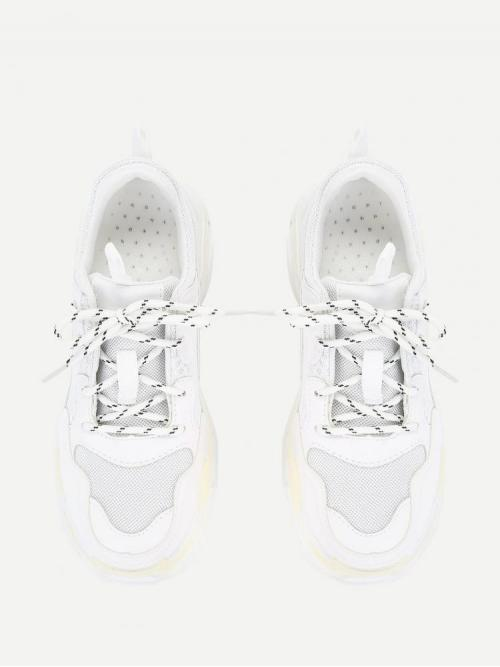 Shopping Corduroy White Chunky Trainers Hollow Contrast Mesh Sneakers