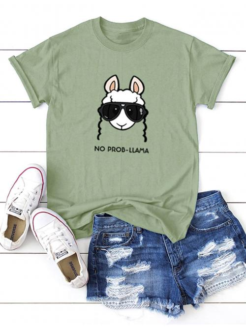 Casual Letter and Cartoon Regular Fit Round Neck Short Sleeve Pullovers Green Regular Length Animal And Letter Print Tee