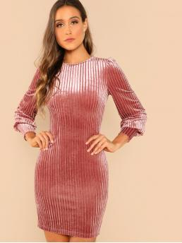 Glamorous Loose Round Neck Long Sleeve Natural Pink Short Length Bishop Sleeve Ribbed Velvet Dress