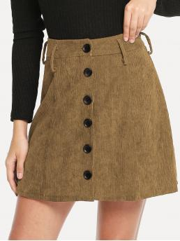 Casual A Line Plain Mid Waist Camel Above Knee/Short Length Single Breasted Corduroy Skirt