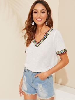 Casual Tribal Regular Fit V neck Short Sleeve Pullovers White Regular Length Aztec Embroidered Trim Heathered Tee