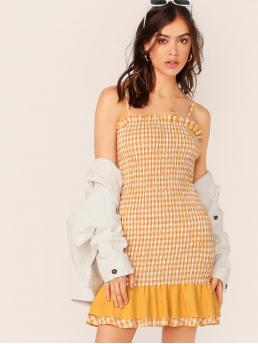 Boho Cami Gingham Flounce Slim Fit Spaghetti Strap Sleeveless Natural Yellow Short Length Frill Trim Layered Ruffle Hem Shirred Gingham Sundress