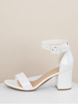 Business Casual Plain Ankle Strap White Chunky Patent Open Toe Ankle Strap High Heel Sandals