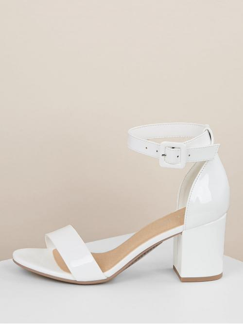 Ankle Strap Plain Ankle Strap White Chunky Patent Open Toe Ankle Strap High Heel Sandals
