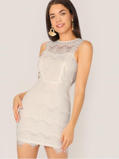 Glamorous and Sexy Bodycon Plain Slim Fit Round Neck Sleeveless Natural White Mini Length Back Cut Out Scallop Edge Sleeveless Lace Dress with Lining