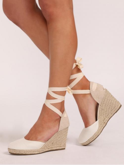 Boho Almond Toe Lace Up and Strappy Beige High Heel Espadrille Ankle Wrap Closed Toe Espadrille Wedges