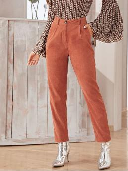 Casual Plain Tapered/Carrot Regular Button Fly High Waist Red Long Length Solid Pocket Side Corduroy Pants
