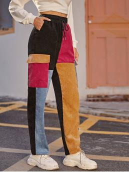 Casual Colorblock Straight Leg Regular Drawstring Waist and Elastic Waist High Waist Multicolor Long Length Flap Pocket Side Cord Pants