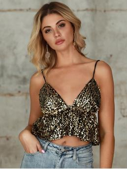 Glamorous and Sexy Cami Flared Regular Fit Spaghetti Strap Gold Crop Length Double Crazy Ruffle Hem Crop Sequin Cami Top