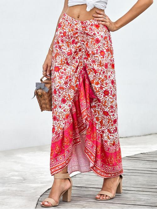 Boho Asymmetrical Floral and Tribal Mid Waist Multicolor Long/Full Length Floral & Tribal Print Drawstring Front Skirt with Lining