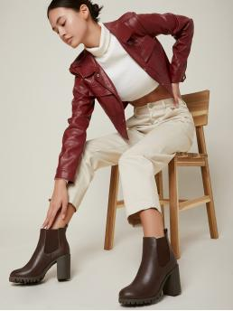 Chocolate Brown Chelsea Boots High Heel Chunky Vegan Leather Chelsea Boots Clearance