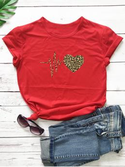 Short Sleeve Cotton Leopard Red Heart and Cheetah Print Tee Shopping