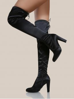 Elegant Sock Boots Side zipper Black High Heel Chunky Round Toe Satin Over The Knee Boots BLACK