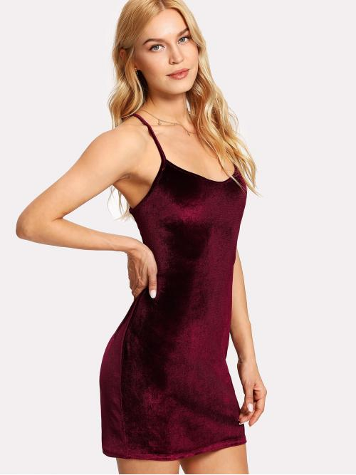 Glamorous and Sexy Fitted Plain Slim Fit Spaghetti Strap Sleeveless Burgundy Short Length Lace Up Open Back Velvet Cami Dress