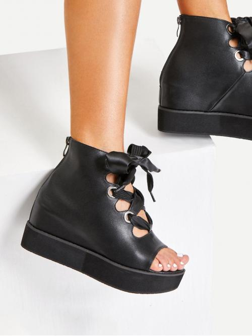 Corduroy Black Flatfrom Shoes Bow Criss Cross Detail Platform Wedges Trending now