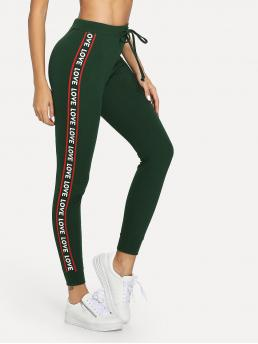 Sporty Letter Skinny Mid Waist Green Cropped Length Lettering Tape Side Skinny Sweatpants