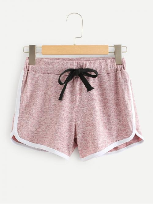 Clearance Dusty Pink Natural Waist Drawstring Track Shorts Dolphin Shorts