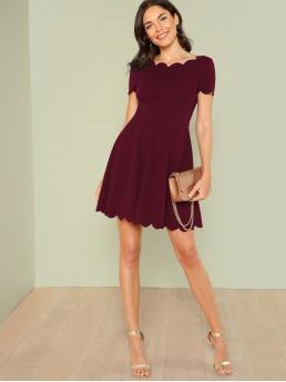 Elegant Fit and Flare Plain Flared Regular Fit Boat Neck Short Sleeve High Waist Burgundy Short Length Scallop Edge Flare Dress