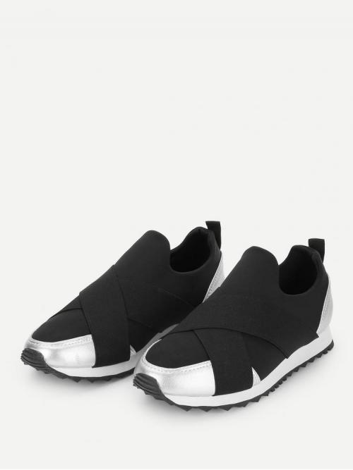 Shopping Corduroy Black Running Shoes Chain Low Top Slip on Velcro Sneakers