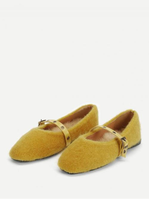 Womens Corduroy Yellow Ballet Buckle Fuzzy Flats