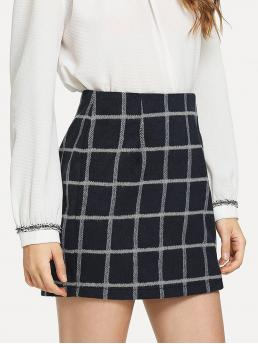 Casual A Line Plaid Mid Waist Navy Above Knee/Short Length Split Hem Grid Skirt