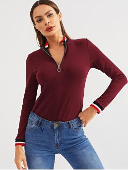 Sporty Striped Slim Fit Stand Collar Long Sleeve Half Placket Burgundy Regular Length Zip Up Mock-neck Striped Tee