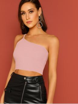 Sexy Plain Slim Fit One Shoulder Pink Crop Length Rib-knit Crop Top With One Strappy