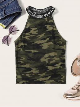 Young Sporty Letter and Camouflage Slim Fit Halter Top Multicolor Regular Length Camo Print Lettering Tape Halter Top