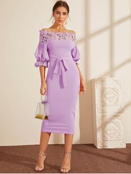 Elegant Bodycon Plain Pencil Slim Fit Boat Neck Half Sleeve Natural Purple and Pastel Long Length Guipure Lace Yoke Puff Sleeve Belted Pencil Dress with Belt
