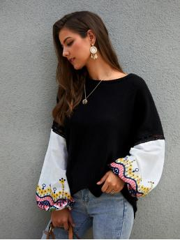 Casual Colorblock Pullovers Oversized Round Neck Long Sleeve Bishop Sleeve Pullovers Black Regular Length Embroidery Contrast Hollow Out Sweater