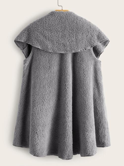 Discount Sleeveless Teddy Asymmetrical Polyester High Low Buster Coat