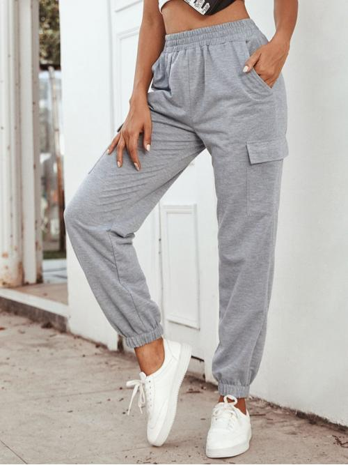 Sporty Plain Sweatpants Regular Elastic Waist Mid Waist Grey Long Length Elastic Waist Pocket Side Sweatpants