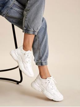 Comfort Round Toe Plain White Lace-up Front Chunky Sneakers