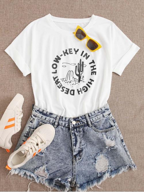 Casual Plants and Slogan Regular Fit Round Neck Short Sleeve Batwing Sleeve Pullovers White Regular Length Cactus & Slogan Graphic Tee
