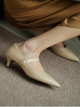 Womens Apricot Mary Jane Pearls Low Heel Faux Pearl Decor Pumps