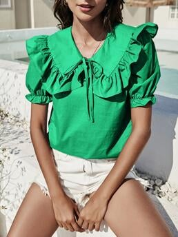 Short Sleeve Top Knot Polyester Solid Statement Collar Blouse Trending now